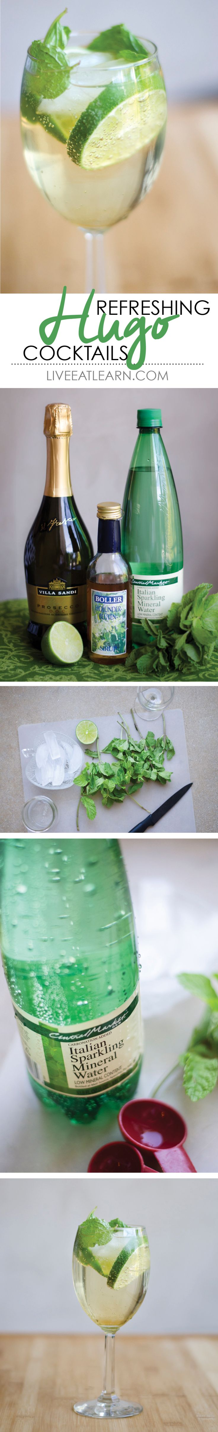 Hugo cocktails made with prosecco, mint, elderflower syrup, and lime. So refreshing, the perfect summer drink! // Live Eat Learn