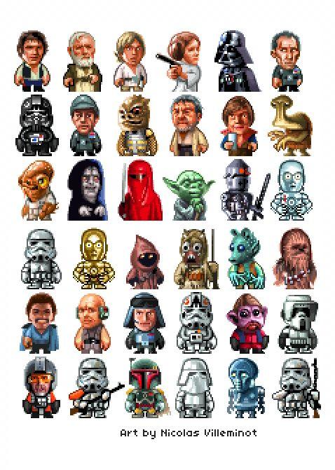 Star Wars Pixel Art Characters By Nicolas Villeminot I