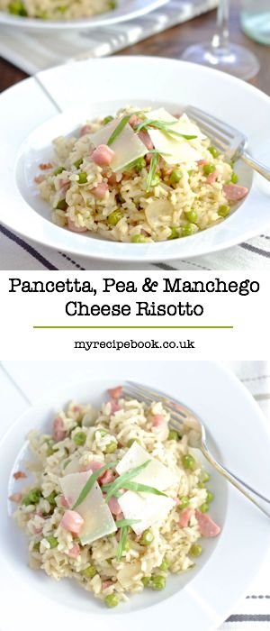 A delicious risotto with pancetta, peas, manchego cheese and tarragon. Perfect for a relaxed evening meal with a glass of white wine.