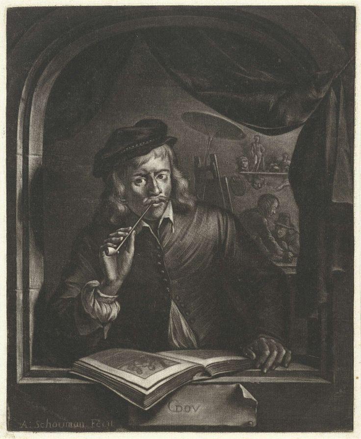 Aert Schouman | Zelfportret van Gerard Dou, Aert Schouman, 1720 - 1792 | De schilder Gerard Dou rookt een pijp in het venster van een schilderswerkplaats. Voor hem ligt een boek en in het atelier zijn twee figuren aan het werk.