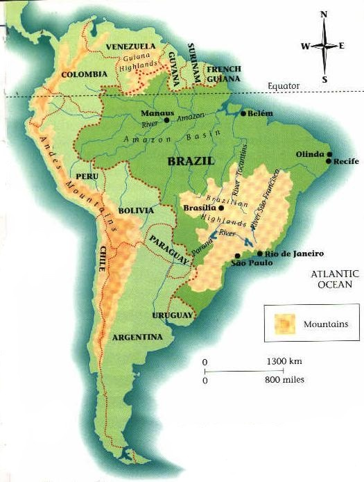 South America Map Amazon Basin
