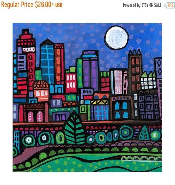 Kansas City Skyline Art Tile Ceramic Coaster Mexican Folk