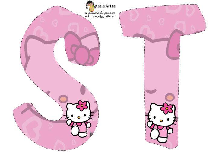 Alfabeto de Hello Kitty en fondo rosa. | Oh my Alfabetos!                                                                                                                                                                                 Más