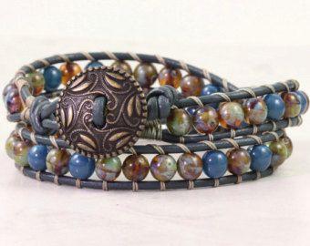 Clothing Gift for Her Leather Wrap Bracelet Sage Green Dark Blue Bracelet Bohemian Jewelry Czech Glass Bracelet Leather Jewelry Amber Wrap