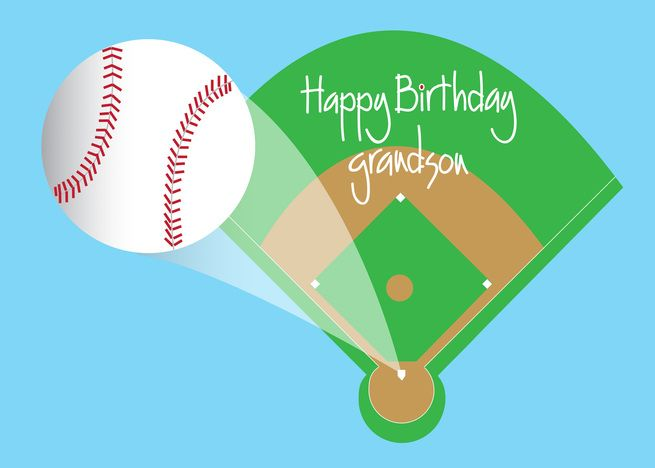 Baseball Happy Birthday For Grandson With Baseball Field And Home