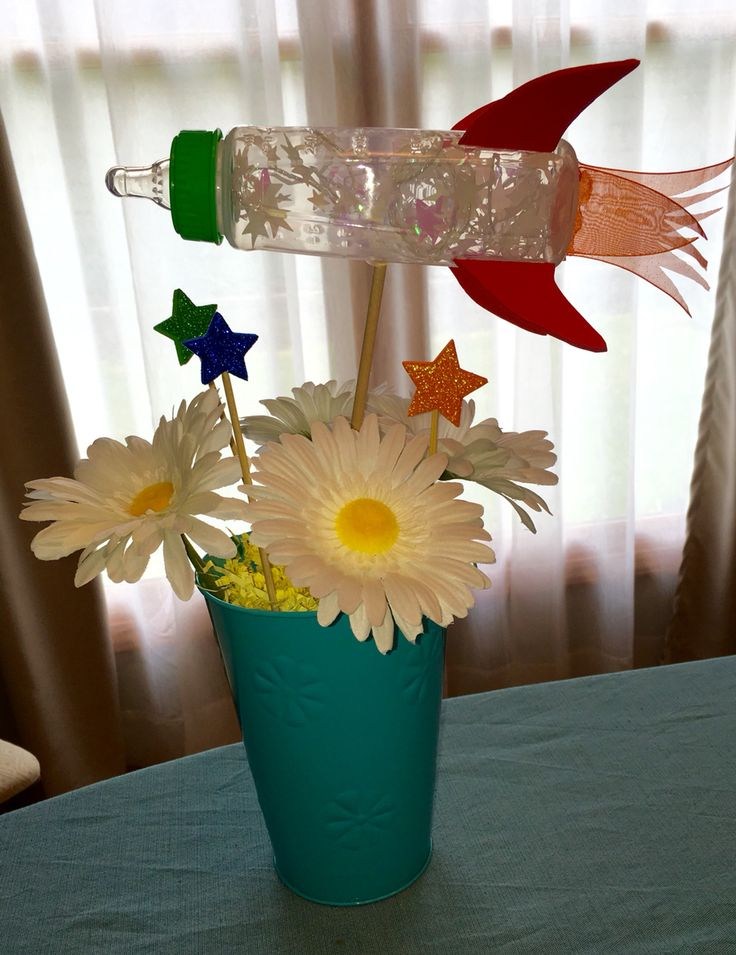 Baby bottle rocket ships for a space theme baby shower!                                                                                                                                                                                 More