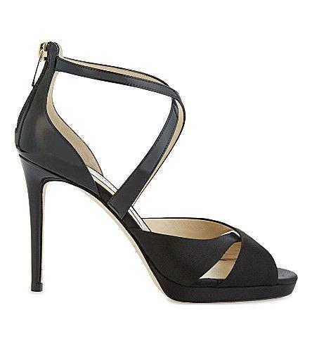 JIMMY CHOO - Lorina 100 patent-leather and satin heeled sandals | Selfridges.com #jimmychooheelsblack
