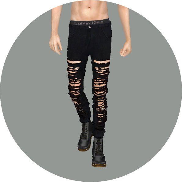 Male black&white jeans at Marigold via Sims 4 Updates