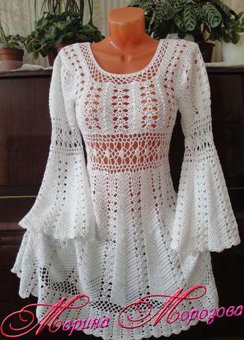 Patrón de Vestido a Crochet            Un patrón de vestido a crochet que debes hacer para este verano.... de seguro será un lindo y especi...