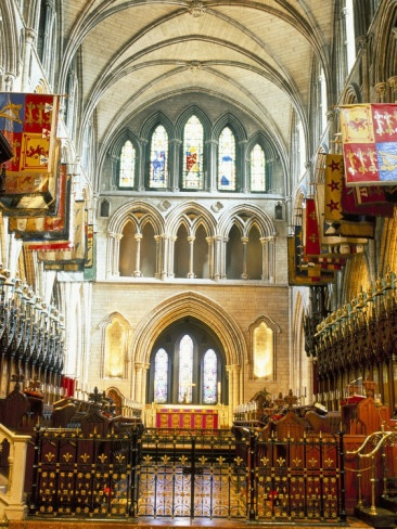 The Choir and Banners, St. Patrick's Catholic Cathedral, Dublin, County Dublin, Eire (Ireland). Truly one of the most beautiful places I've been in my hometown.