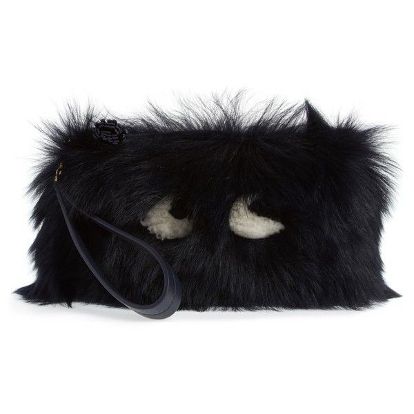 Women's Anya Hindmarch Creeper Genuine Shearling Clutch (2.560 BRL) ❤ liked on Polyvore featuring bags, handbags, clutches, ink, fuzzy purse, shearling handbags, anya hindmarch purse, shearling purse and anya hindmarch handbags