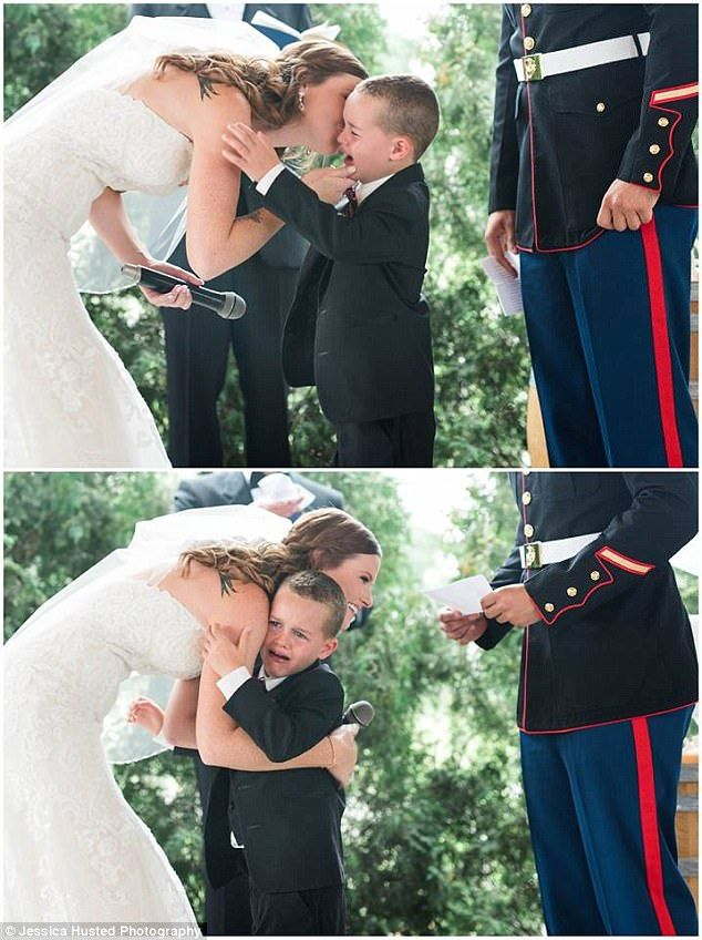 Marine S Son Cries In Stepmom S Arms As They Exchange Vows Wedding Vows That Make You Cry Wedding With Kids Step Moms