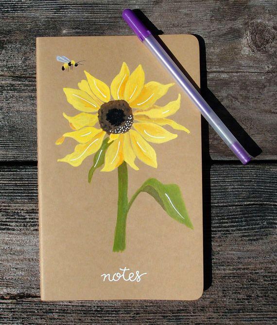 Sunflower Hand Painted Journal Field Notebook   Botanical