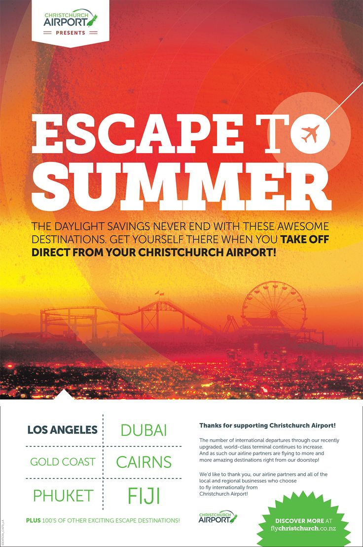 Part of the series of adverts done for the Escape to Summer campaign for Christchurch International Airport