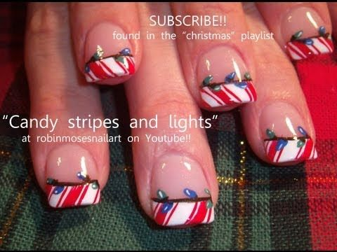 easy red candy cane tips with blue and green christmas lights: robin moses nail art tutorial 538
