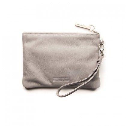 STITCH & HIDE Cassie Clutch Leather Misty Grey