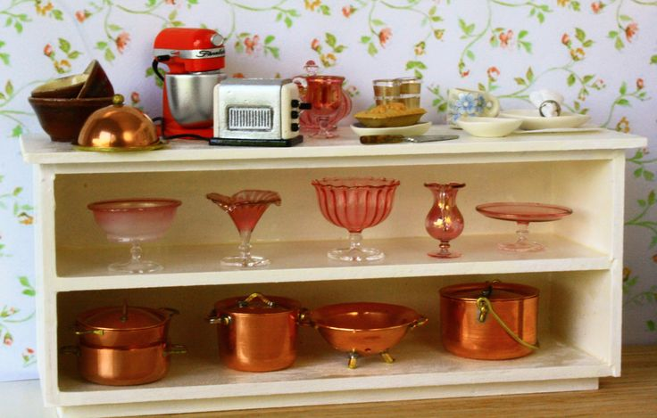 A collection of handmade 1/12 scale kitchen accessories available from Small Scale Showcase