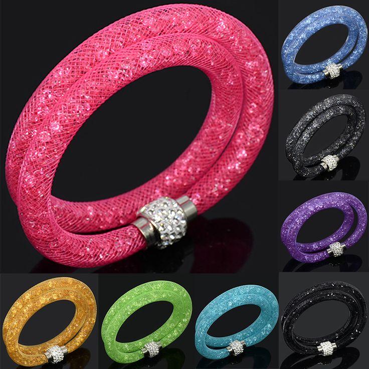 Venta caliente Red De Malla Doble Pulsera De Moda Pulseras de Cristal Del Encanto Para Las Mujeres Bijoux