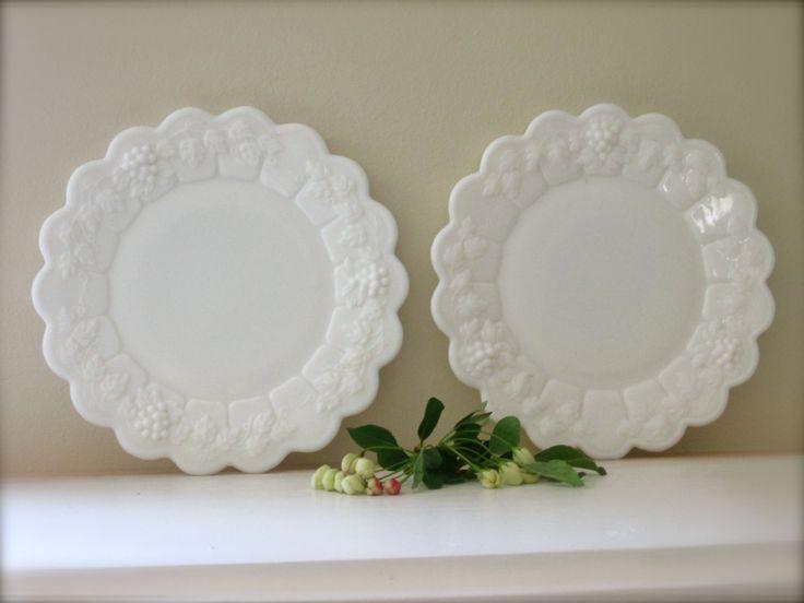 2 Milk Glass Bread Plates Vintage Glassware Dishes Westmoreland glass White Decor Grape Design kitchen serving & 128 best MILK GLASS DINNERWARE images on Pinterest | Milk glass ...