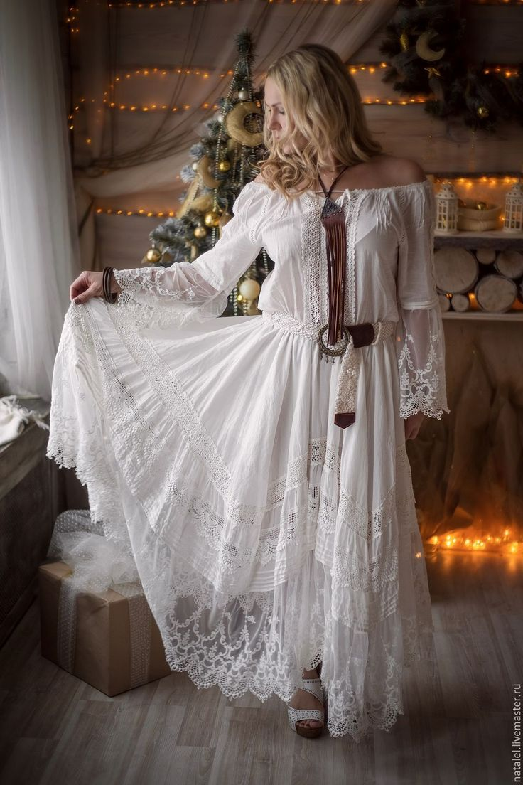 """Купить Платье """"White lace"""", БОХО, кружево хлопок - белый, белое платье, белое кружево"""