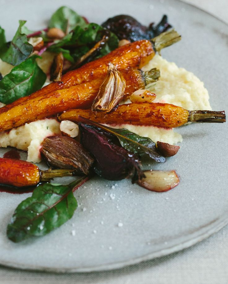 great vegetarian entrée....Oven-Baked Vegetables with Potato and Celery Purée Recipe (Vegetarian, Gluten-Free)