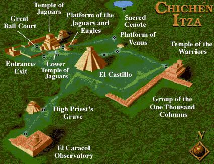Map of Chichén Itzá