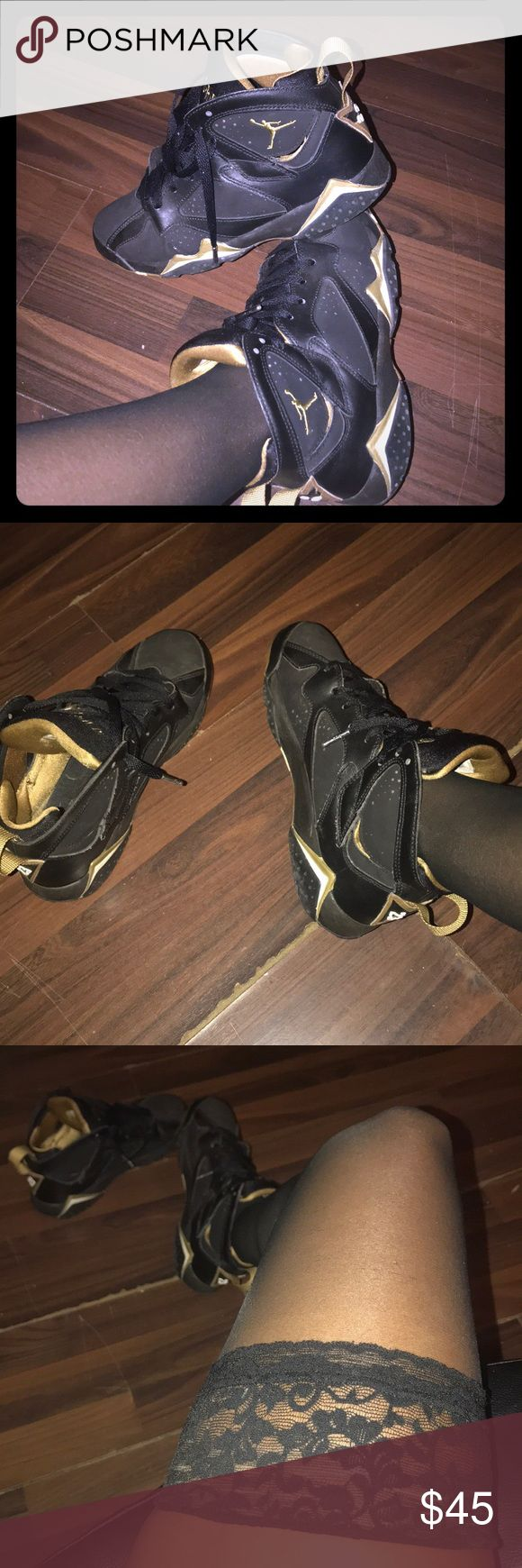 Jordan's black and gold authentic sneakers Black and gold Jordan's used Jordan's good condition authentic Jordan's Jordan Shoes Athletic Shoes