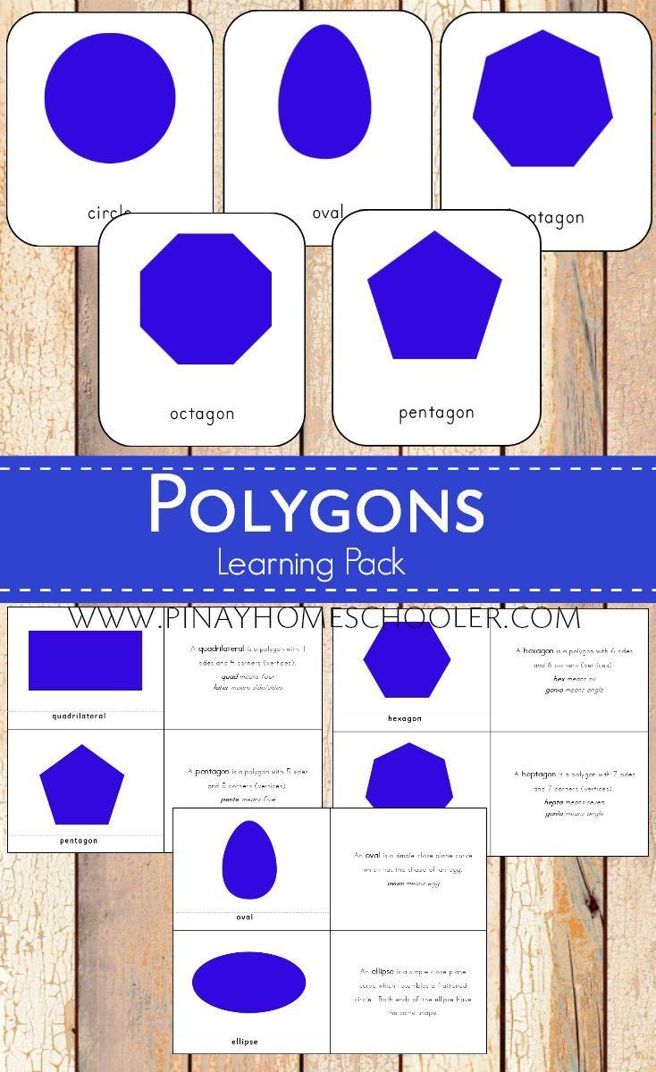 Polygons Montessori 3 Part Cards And Definitions Montessori Elementary Preschool Word Walls Math Activities Preschool