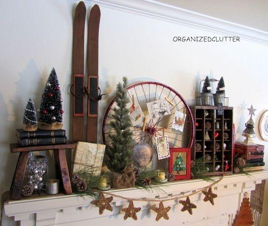 Vintage, Rustic Christmas Mantel