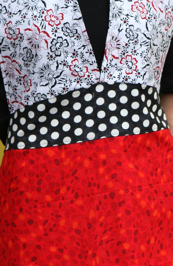 Friday Apron in the classic Red/Black & White by QuiltsbyNona, $27.00