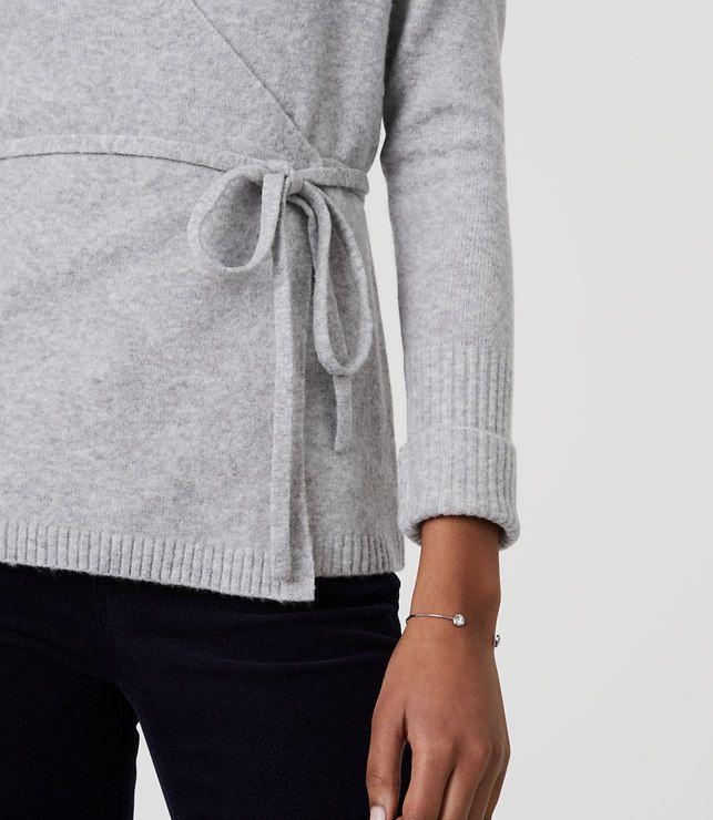 LOFT Wrap Cardigan in warm grey heather