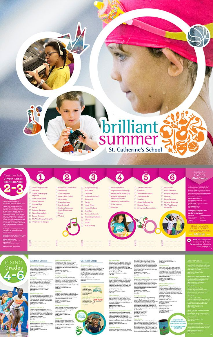 Catalog created for St. Catherine's School's Brilliant Summer Program—a summer camp open to all kids in the community. Click to see the full brochure!