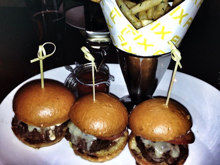Little bites, big flavor!  Kobe sliders with aged cheese & spiced fries. @ FIX, Bellagio Hotel LV