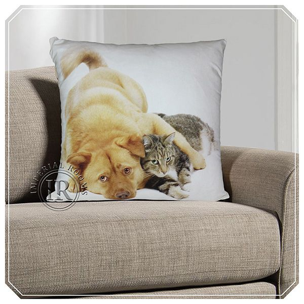 3D Animal Print Cushion Covers – Brown Dog & Cat | Imperial Rooms