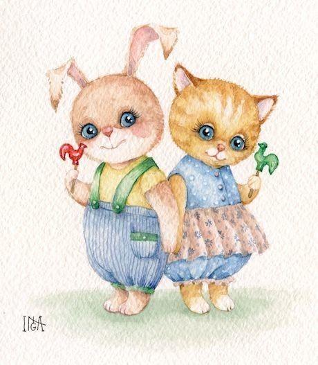 Открытка, открытки зайчик и котик