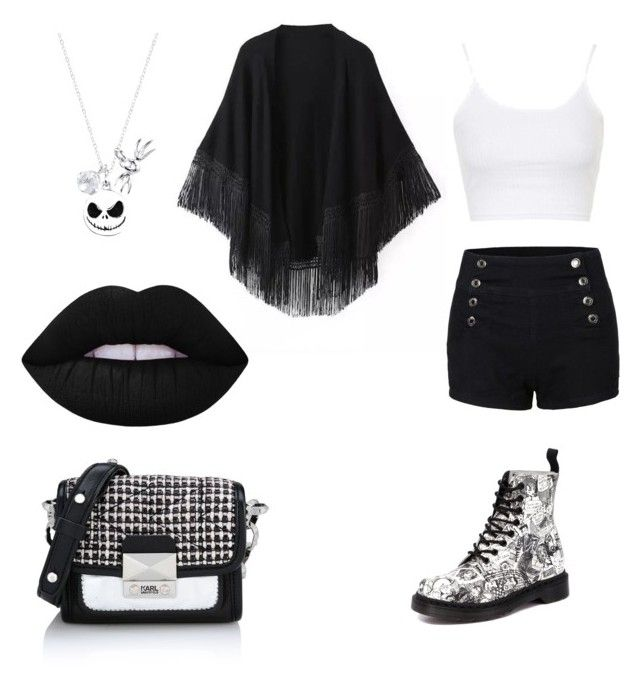 """""""Party Girl"""" by un-title-d on Polyvore featuring Relaxfeel, Dr. Martens, Topshop, Karl Lagerfeld, Disney and Lime Crime"""