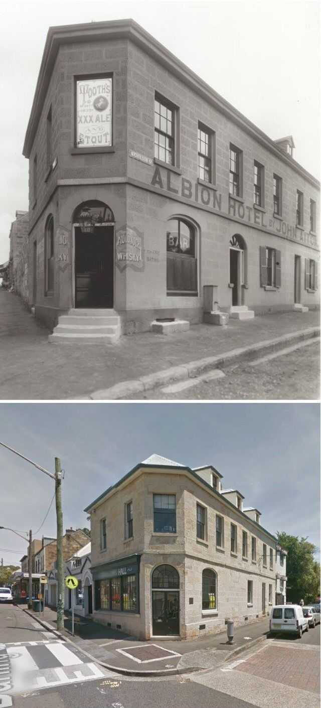 ALBION HOTEL, Corner Darling & Nicholson Streets, Balmain - 1898 and 2014.  [1898-State Records NSW>2014-Google/by Jan Harkins]