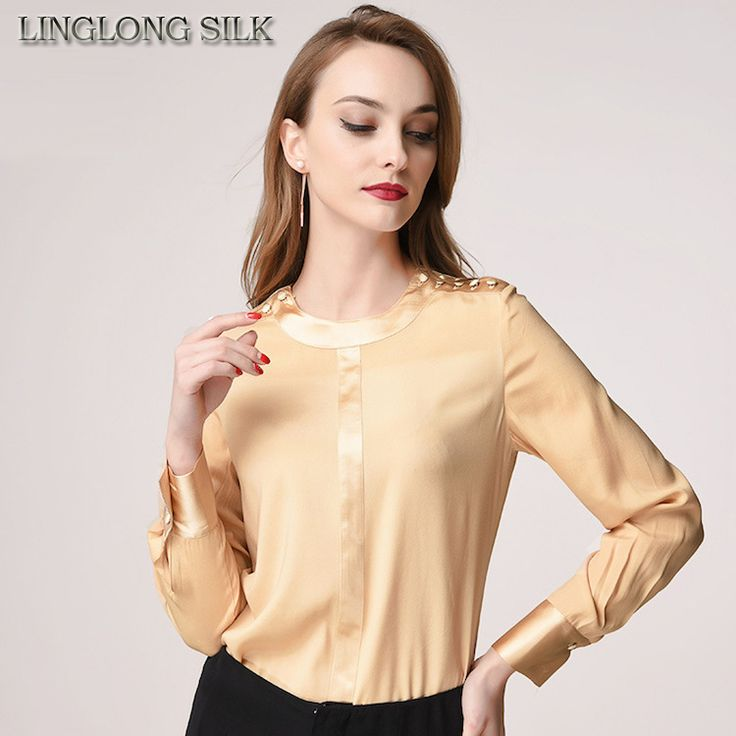Silk Satin Shirt Blusas 1781 100%Pure Silk Matt Color Solid Black Shirt Office Lady Shirts Vintage Shirts Women