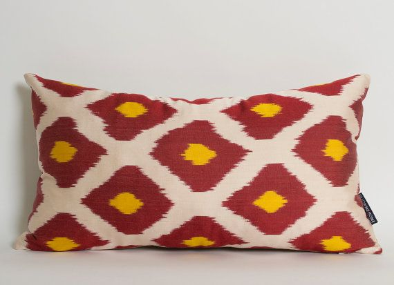 silk lumbar ikat pillow cover red yellow ivory diamond pattern decorative pillows for couch silk ikat