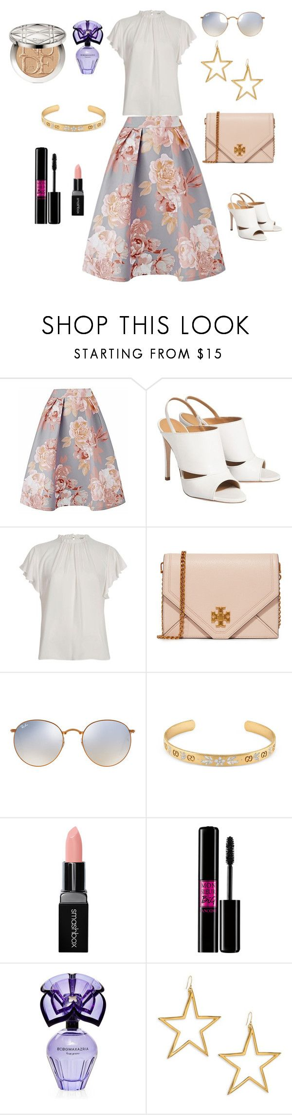 """""""Floral Printed Skirt"""" by april-1884 ❤ liked on Polyvore featuring River Island, Tory Burch, Ray-Ban, Gucci, Smashbox, Lancôme, BCBGMAXAZRIA, Kenneth Jay Lane and Christian Dior"""