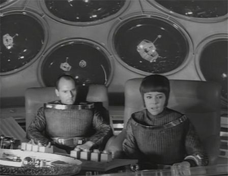 "Helge Legrelle (Ursula Lillig) in a shuttle in the Raumpatroille Orion Episode ""Hüter des Gesetzes"" in 1966"