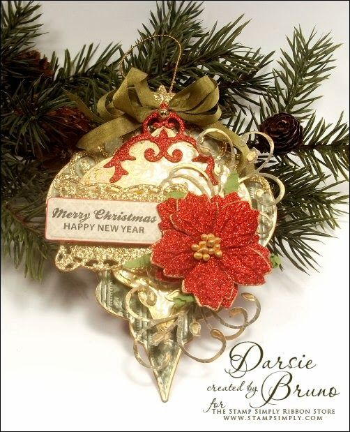 Christmas Ornament using @Spellbinders 2010 Heirloom Ornaments and JustRite Papercraft Antique Christmas Tags One! See blog post for project recipe!