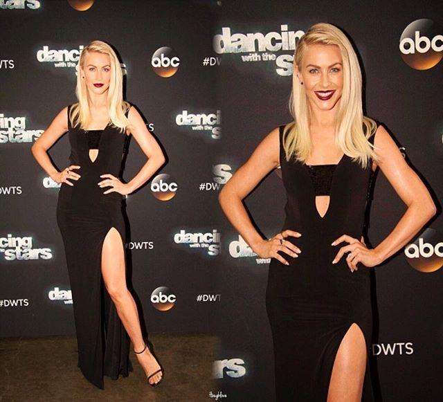Julianne on #dwts  #juliannehough #dancingwiththestars #tonight #gorgeous #press #judge #stunning #abc #live #tv #show #hairgoals #makeup #jules #hough #hair #blonde #flawless #blueeyes #lipstick #smile #stunning #beautiful #edit #pose #dress #ootd #leg #juleshough