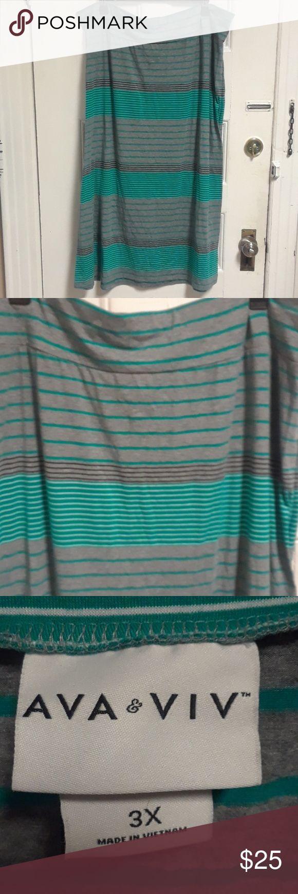 """Ava & Viv Long Skirt 10 Green/Gray/White/Black stripe long skirt 30"""" wide on the hips 38"""" long Ava & Viv Skirts Maxi"""