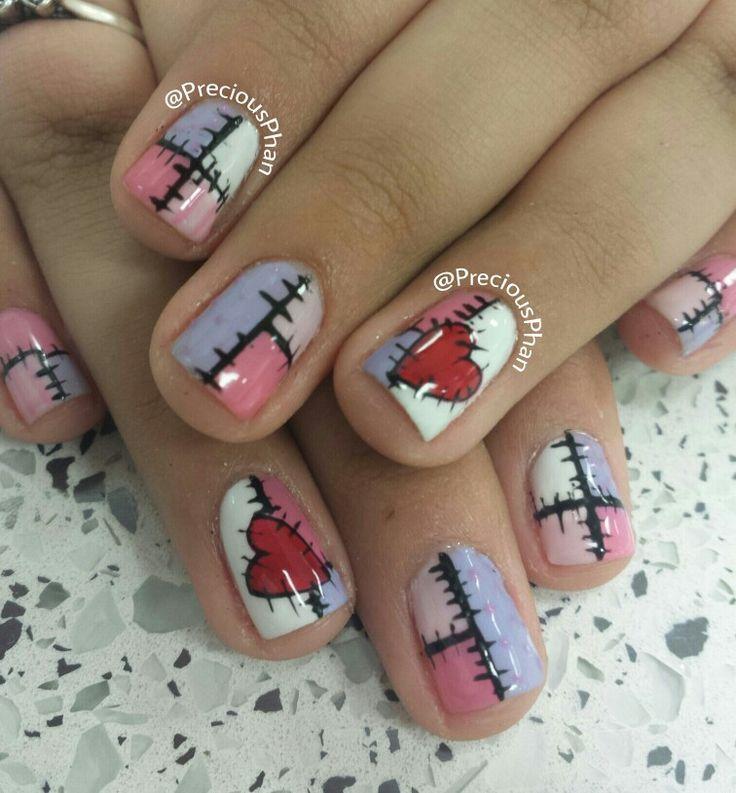 Raggedy ann, valentine nails