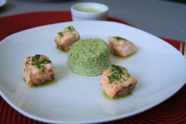 RECEITA THERMOMIX: Pudim de brócolis com cubos de salmão no vapor