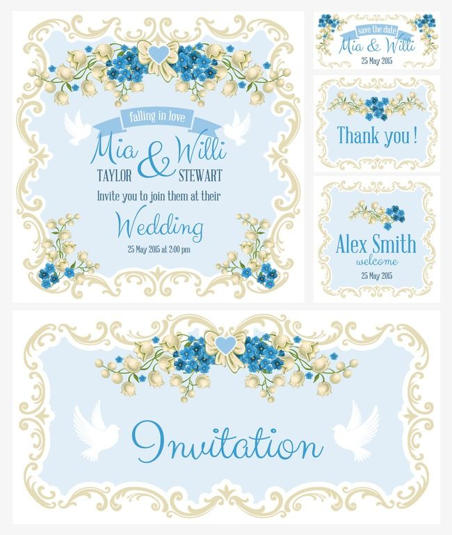 5 Blue Floral Wedding Invitation Card Vector Material