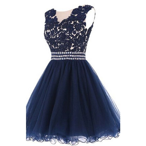 Navy Beaded Chiffon Sequins Lace Short Homecoming Dress ($159) ❤ liked on Polyvore featuring dresses, navy lace cocktail dress, sequin cocktail dresses, navy blue dress, navy lace dress and short homecoming dresses