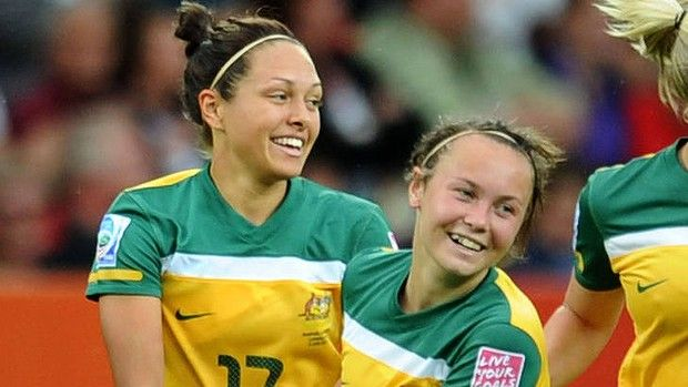 Australian striker Kyah Simon  with young teammate  Caitlin Foord. AFP
