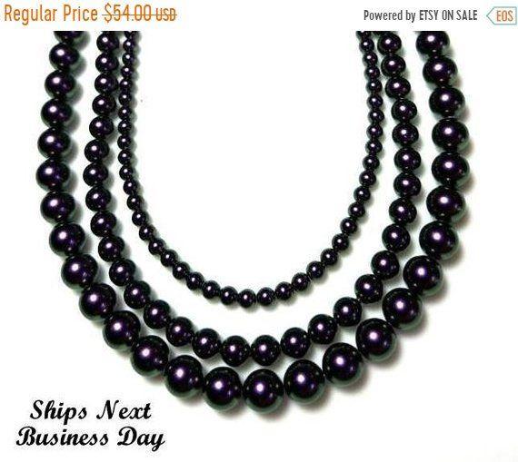 40 Off Dark Purple Swarovski Pearl Necklace With Gold Magnetic Clasp Long Multi Stra Swarovski Pearl Necklace Glass Beads Jewelry Multi Strand Pearl Necklace